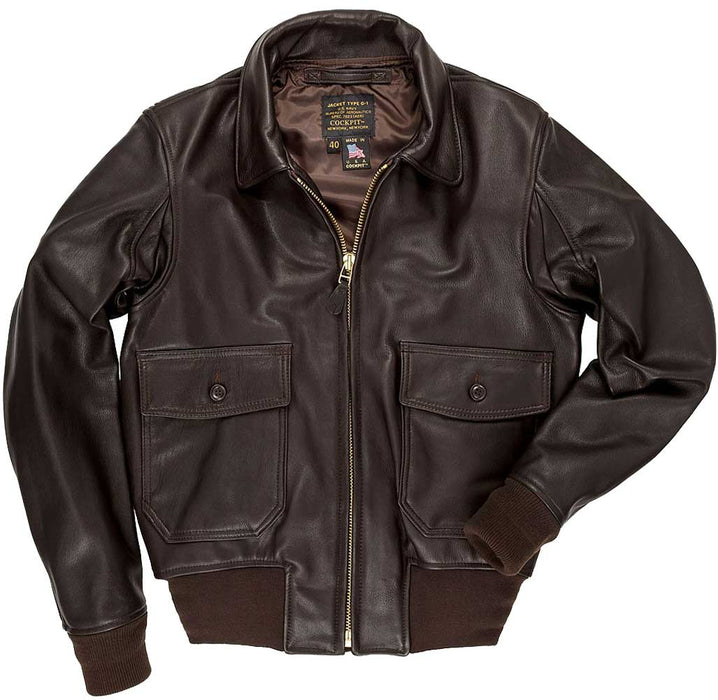 Cockpit USA Mens Modified G-1 Goatskin Leather Flight Jacket