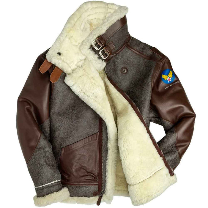 Cockpit USA Mens 100 Mission B-3 Sheepskin Bomber Jacket