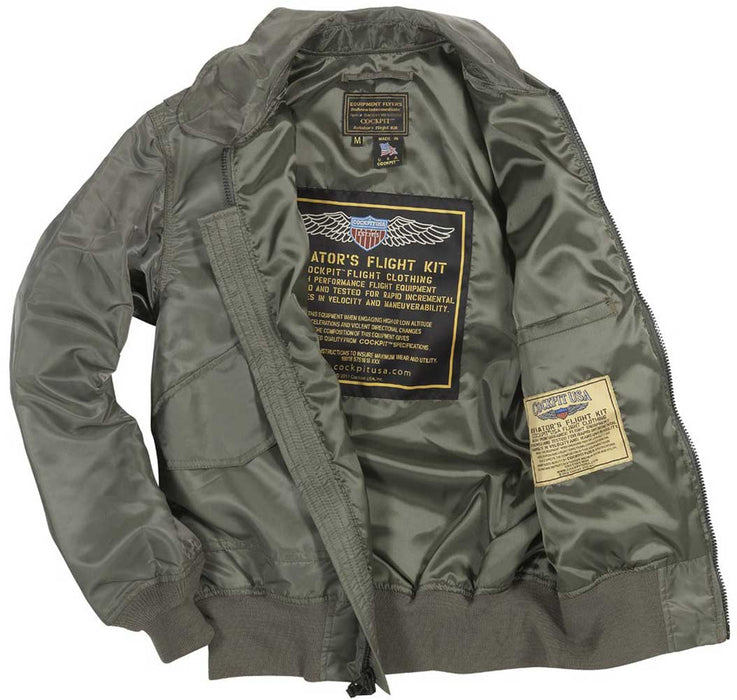 Cockpit USA Mens USN Fighter Weapons Nylon Flight Jacket