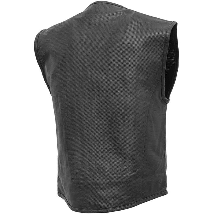 First Mfg Mens Raceway SWAT Style Perforated Leather Motorcycle Vest