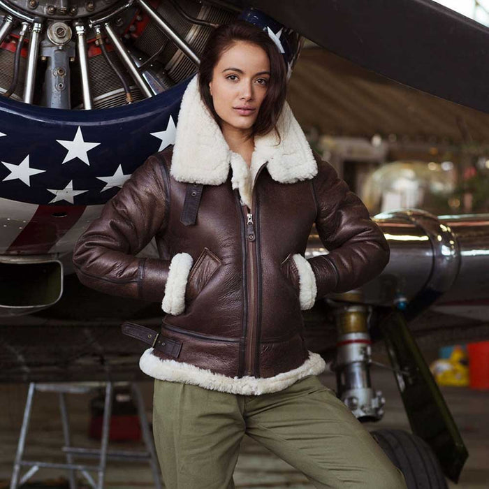 Cockpit USA Womens B-3 Sheepskin Bomber Jacket