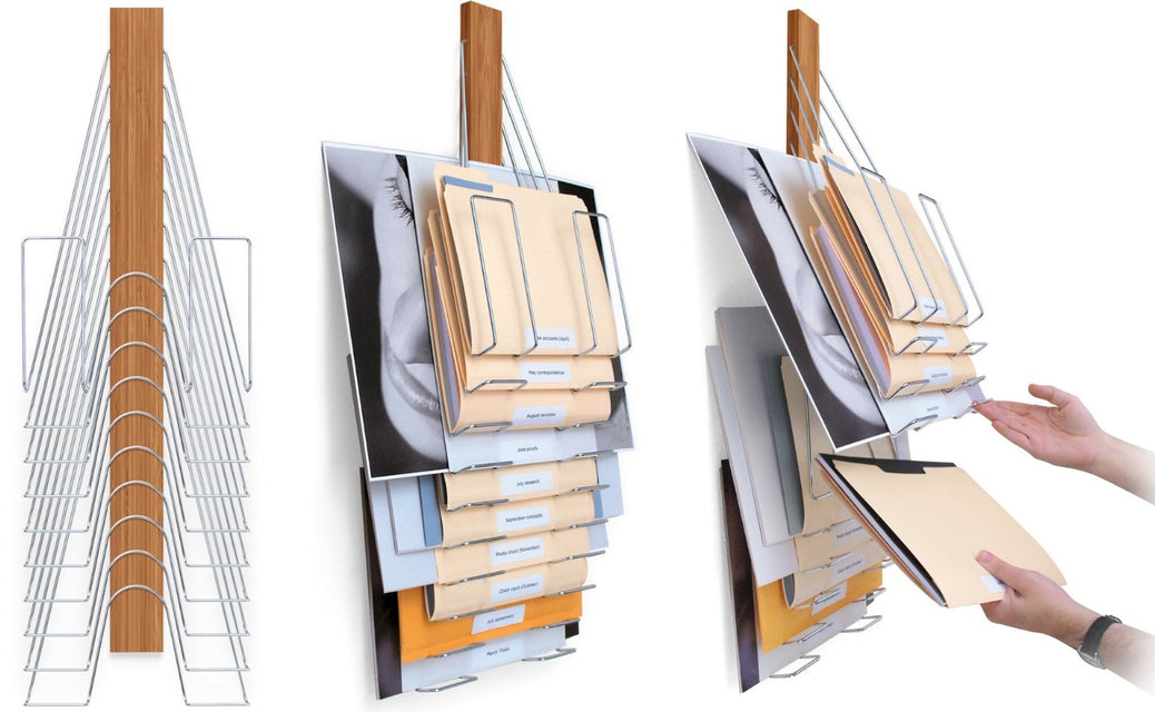 The Up Filer, Wall File Organizer. 10 slots or pockets for organizing letter sized files, legal sized files, or oversized flat files. Made of Wood & Nickel-plated steel it's a permanent solution to clearing the clutter in your workspace.