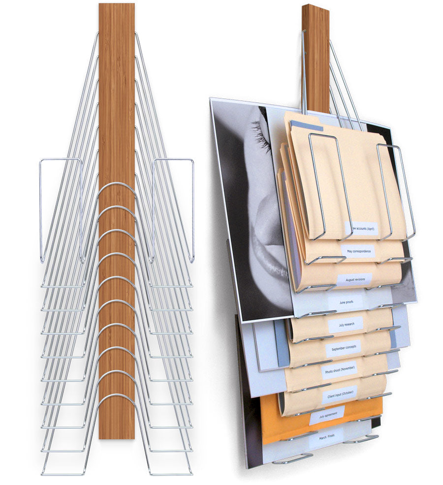 Hanging Wall File Organizer- Bamboo and Nickel Plated Steel 10 slots holds varying sized content