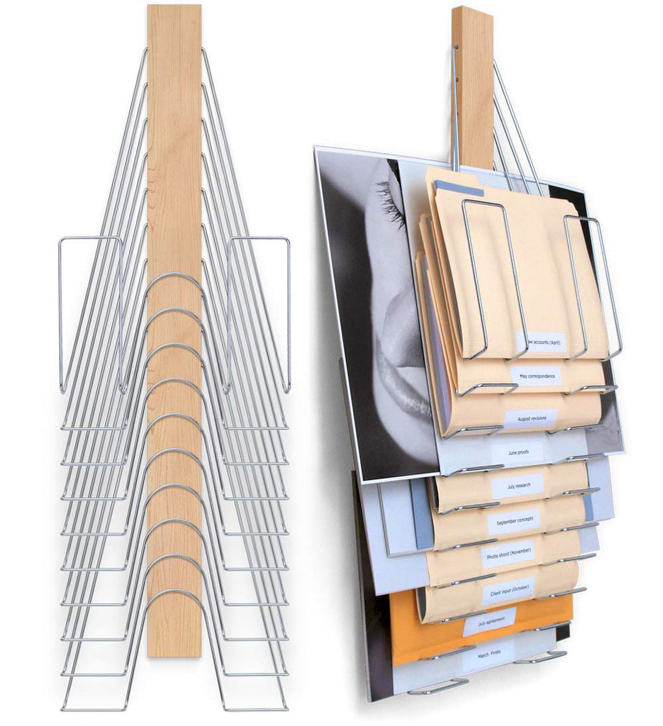 Hanging Wall File- maple and nickel plated steel-  10 slots hold varying sized content