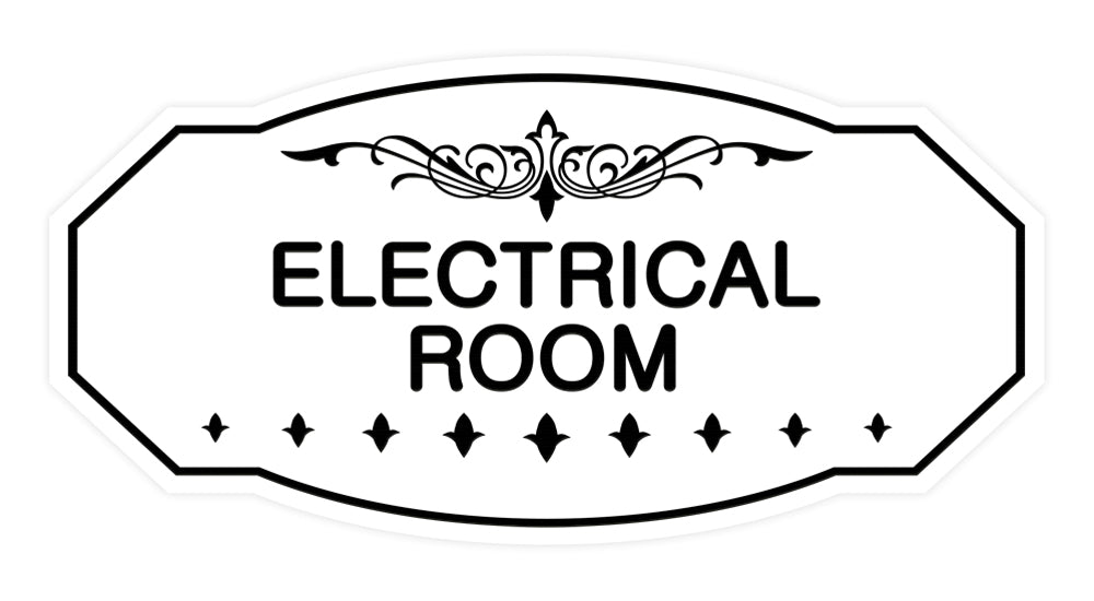 White Victorian Electrical Room Sign