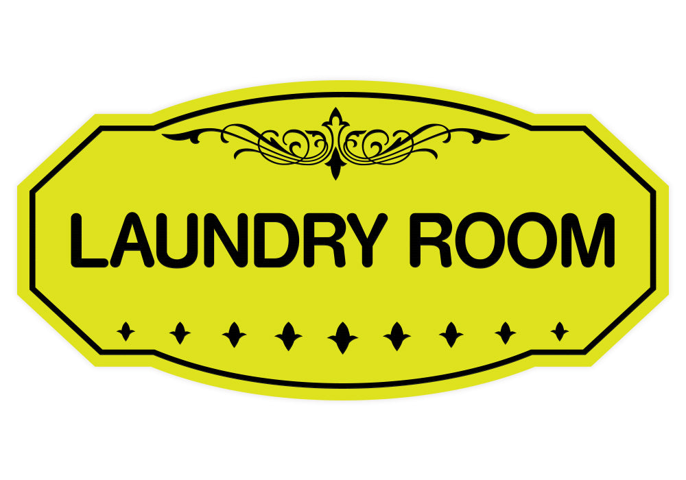 Yellow / Black Victorian Laundry Room Sign