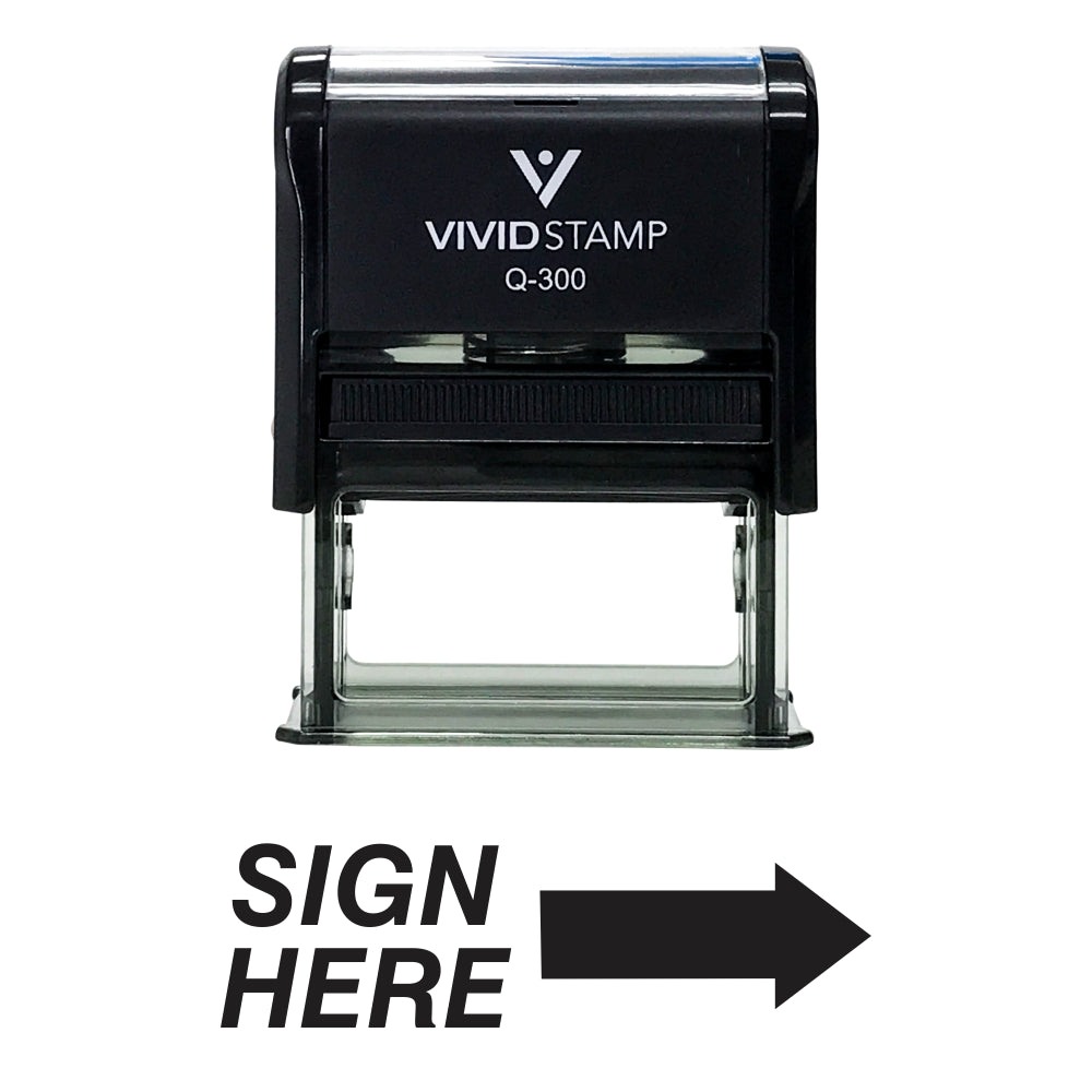 SIGN HERE Self Inking Rubber Stamp