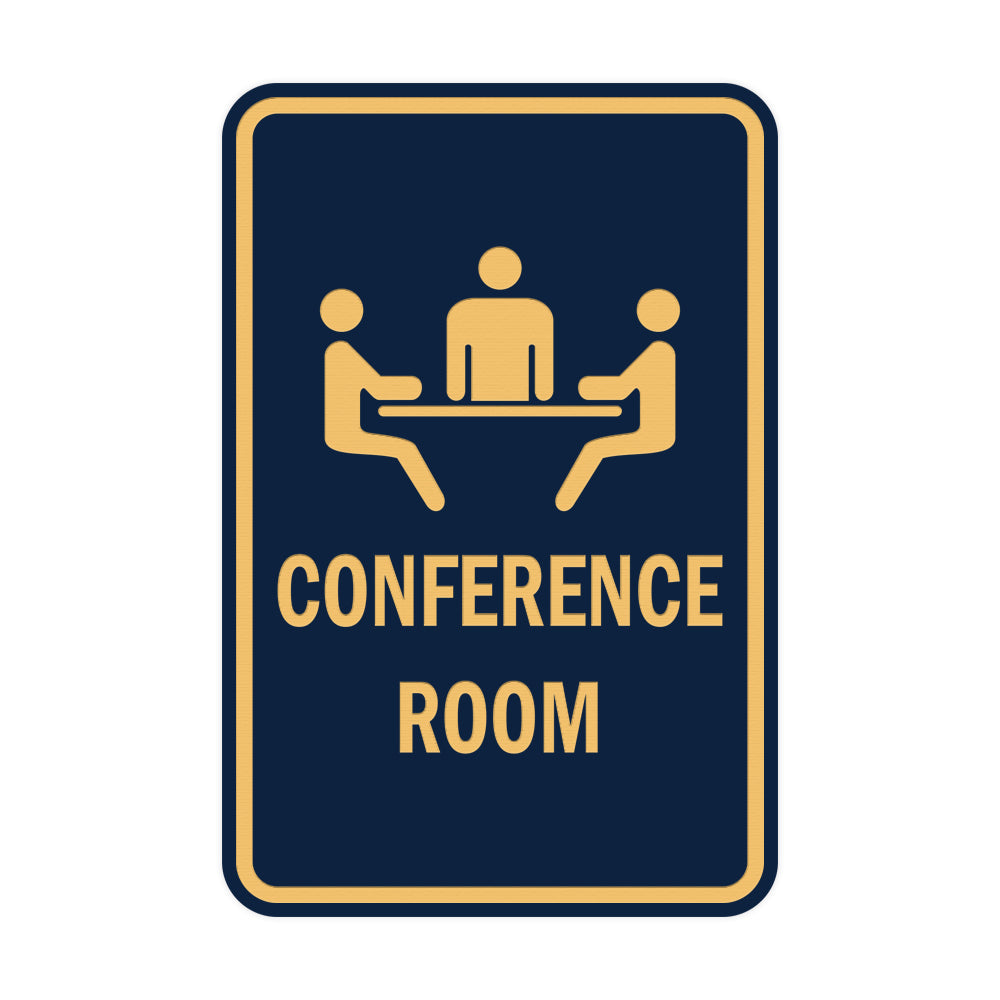 Navy Blue / Gold Portrait Round Conference Room Sign