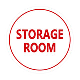 White / Red Signs ByLITA Circle Storage Room Sign