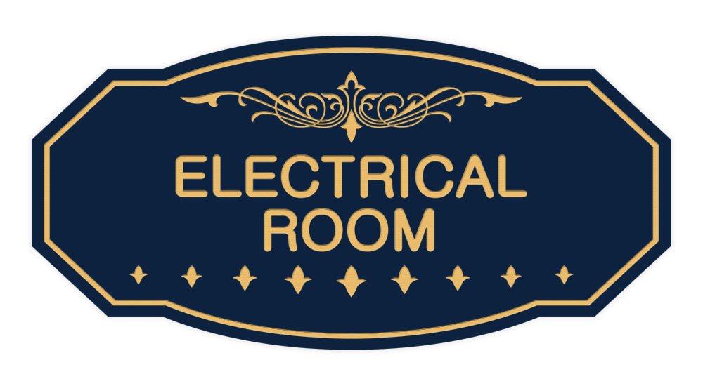Navy Blue / Gold Victorian Electrical Room Sign