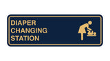 Navy Blue / Gold Signs ByLITA Standard Diapers Changing Station Sign