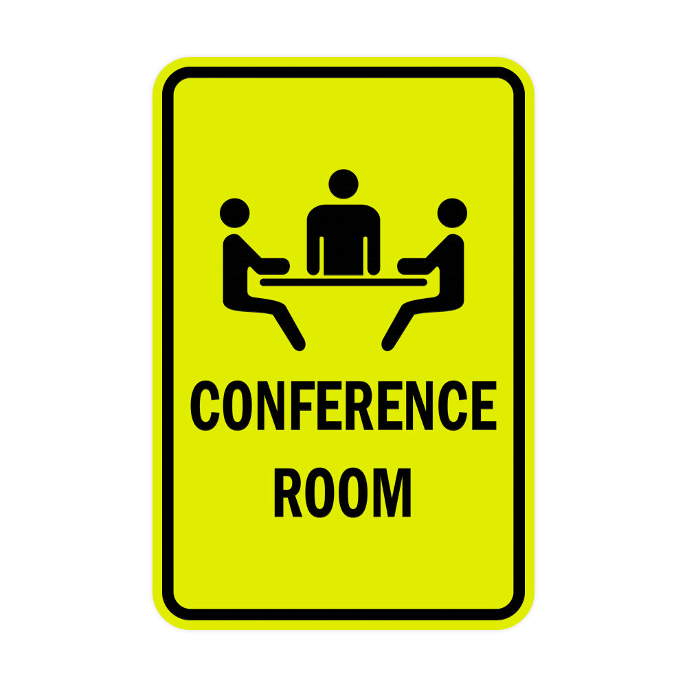 Yellow / Black Portrait Round Conference Room Sign