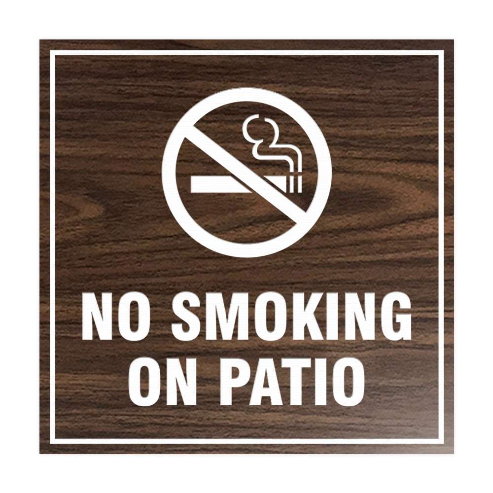 Signs ByLITA Square No Smoking on Patio Sign with Adhesive Tape