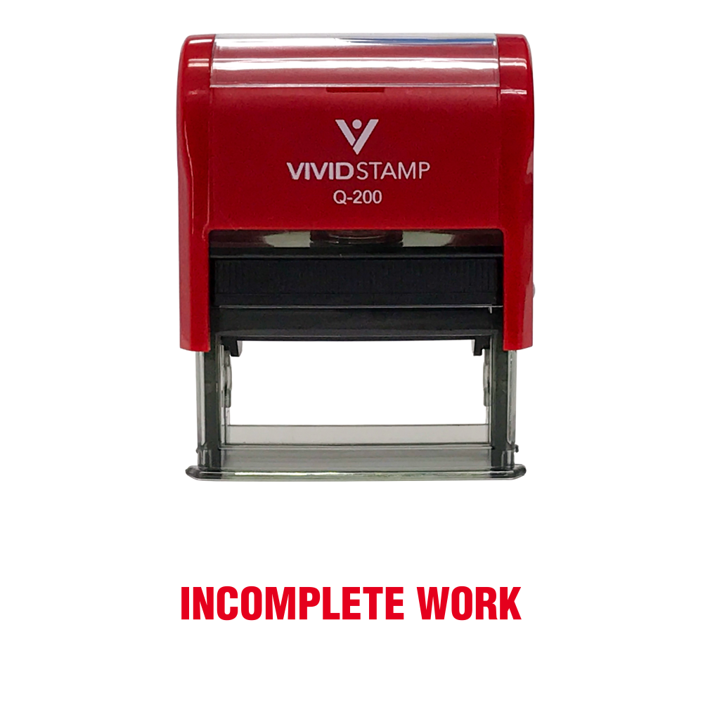 Incomplete Work Teacher Self Inking Rubber Stamp