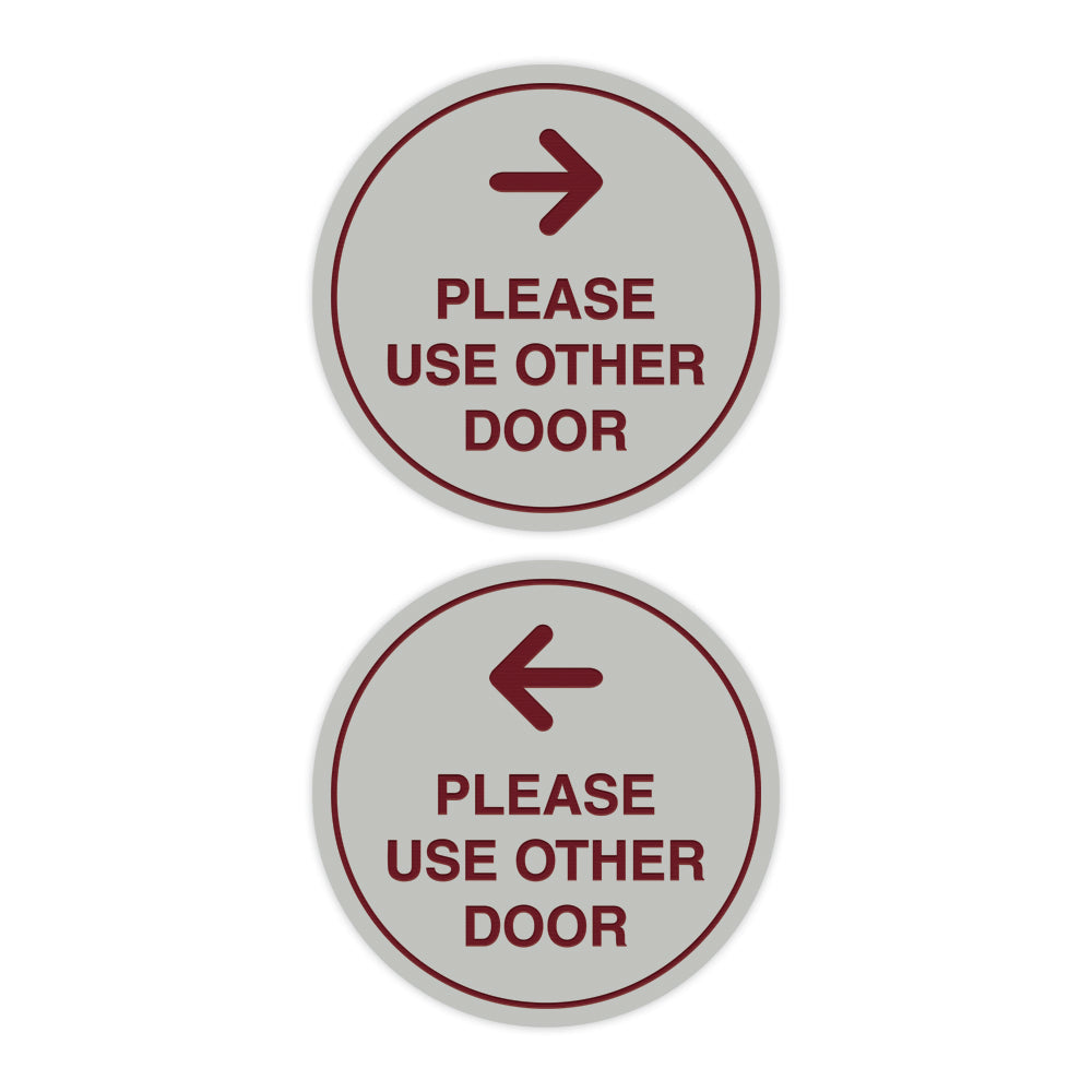 Signs ByLITA Circle Please Use Other Door Sign Set with Adhesive Tape, Mounts On Any Surface, Weather Resistant, Indoor/Outdoor Use