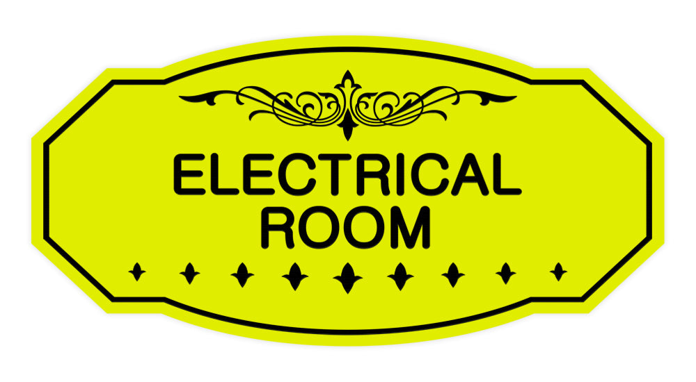 Yellow / Black Victorian Electrical Room Sign