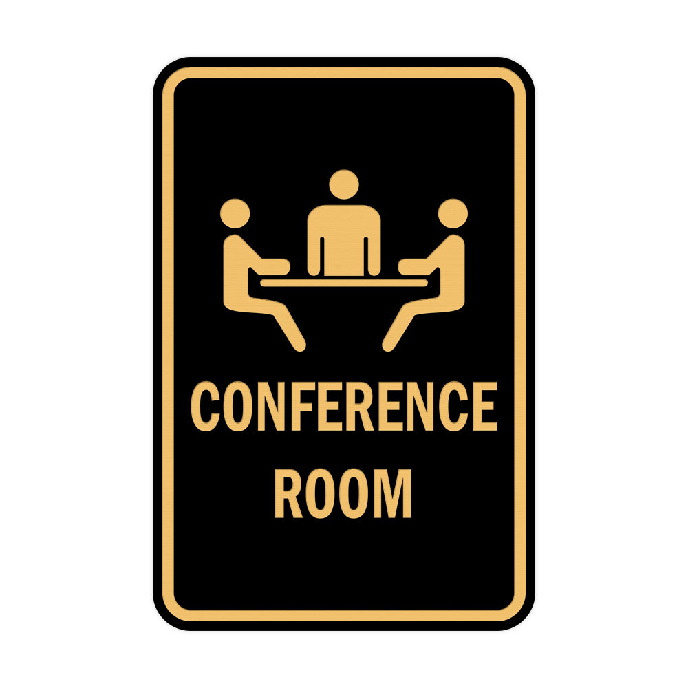 Black / Gold Portrait Round Conference Room Sign