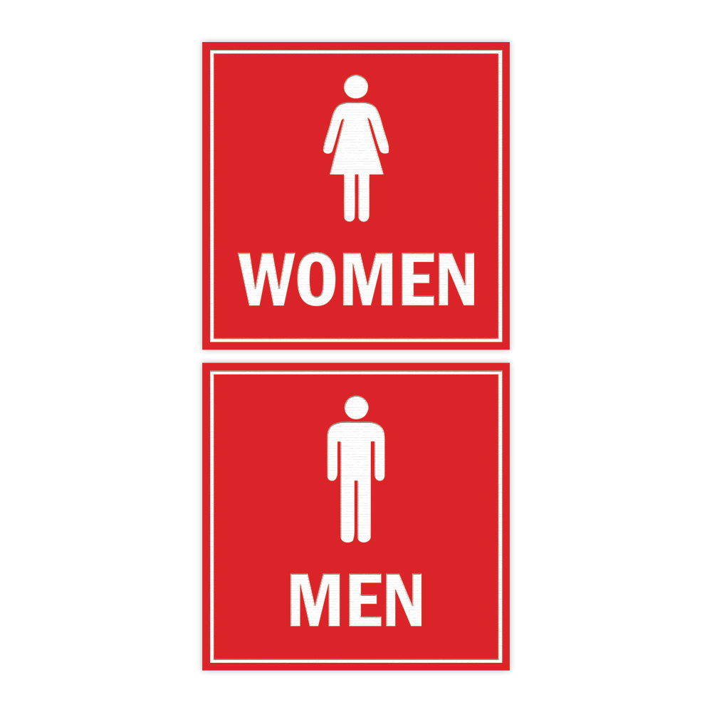Signs ByLITA Square men women sign set with Adhesive Tape, Mounts On Any Surface, Weather Resistant, Indoor/Outdoor Use