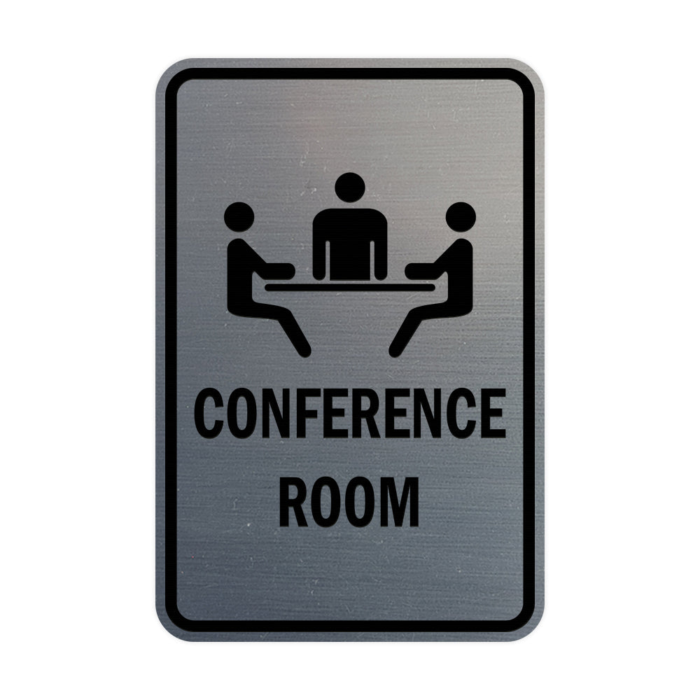 Brushed Silver Portrait Round Conference Room Sign