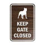 Portrait Round Keep Gate Closed Dog Sign