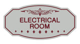 Light Grey / Burgundy Victorian Electrical Room Sign