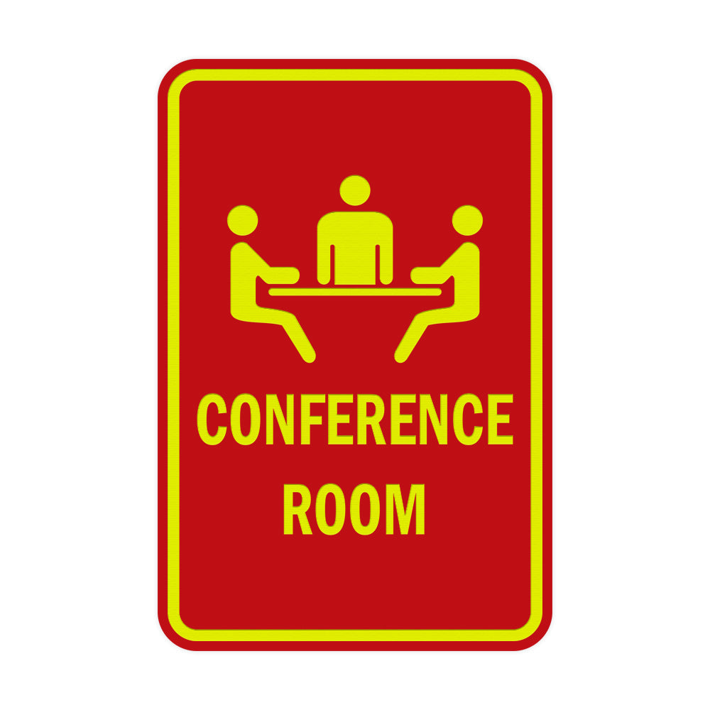 Red / Yellow Portrait Round Conference Room Sign