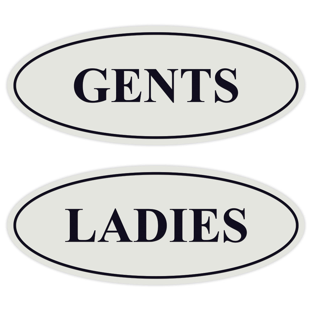 Oval LADIES GENTS Restroom Signs - 2 Pack