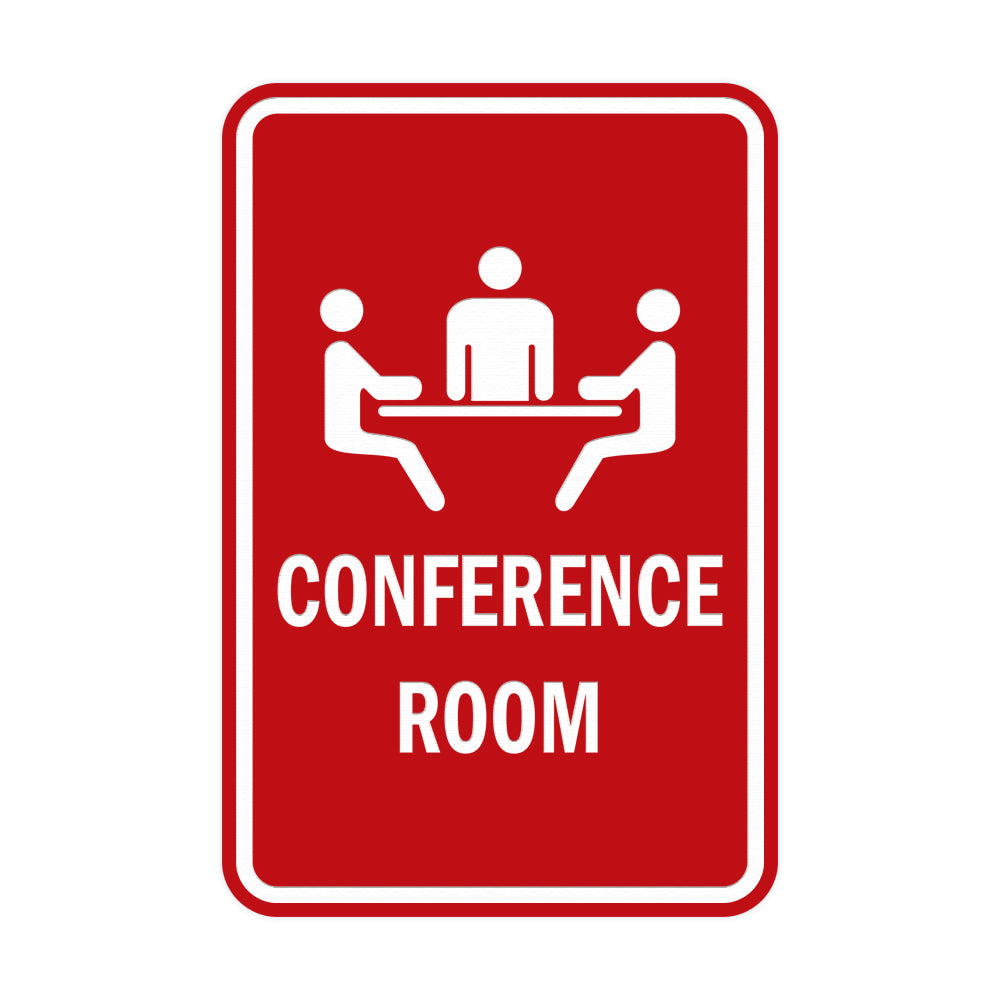 Red Portrait Round Conference Room Sign