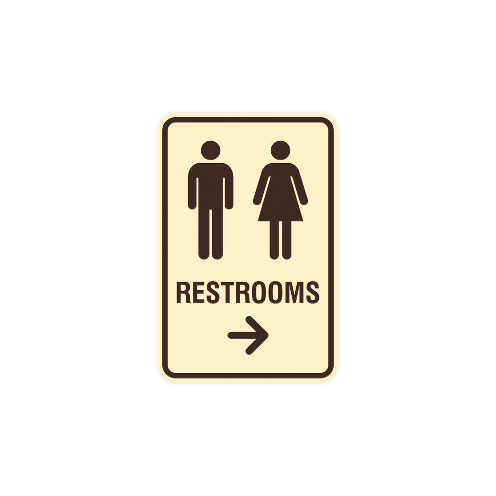 Portrait Round Restrooms Right Arrow Sign