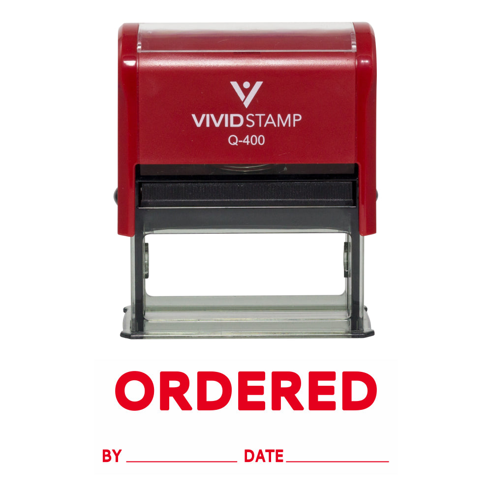 Ordered By Date Self Inking Rubber Stamp