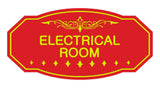 Red / Yellow Victorian Electrical Room Sign