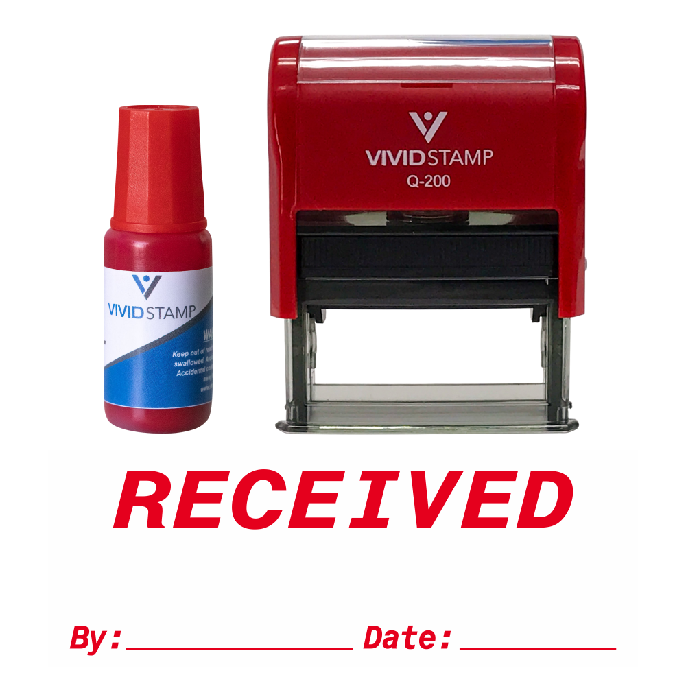 Received By Date Self Inking Rubber Stamp Combo With Refill