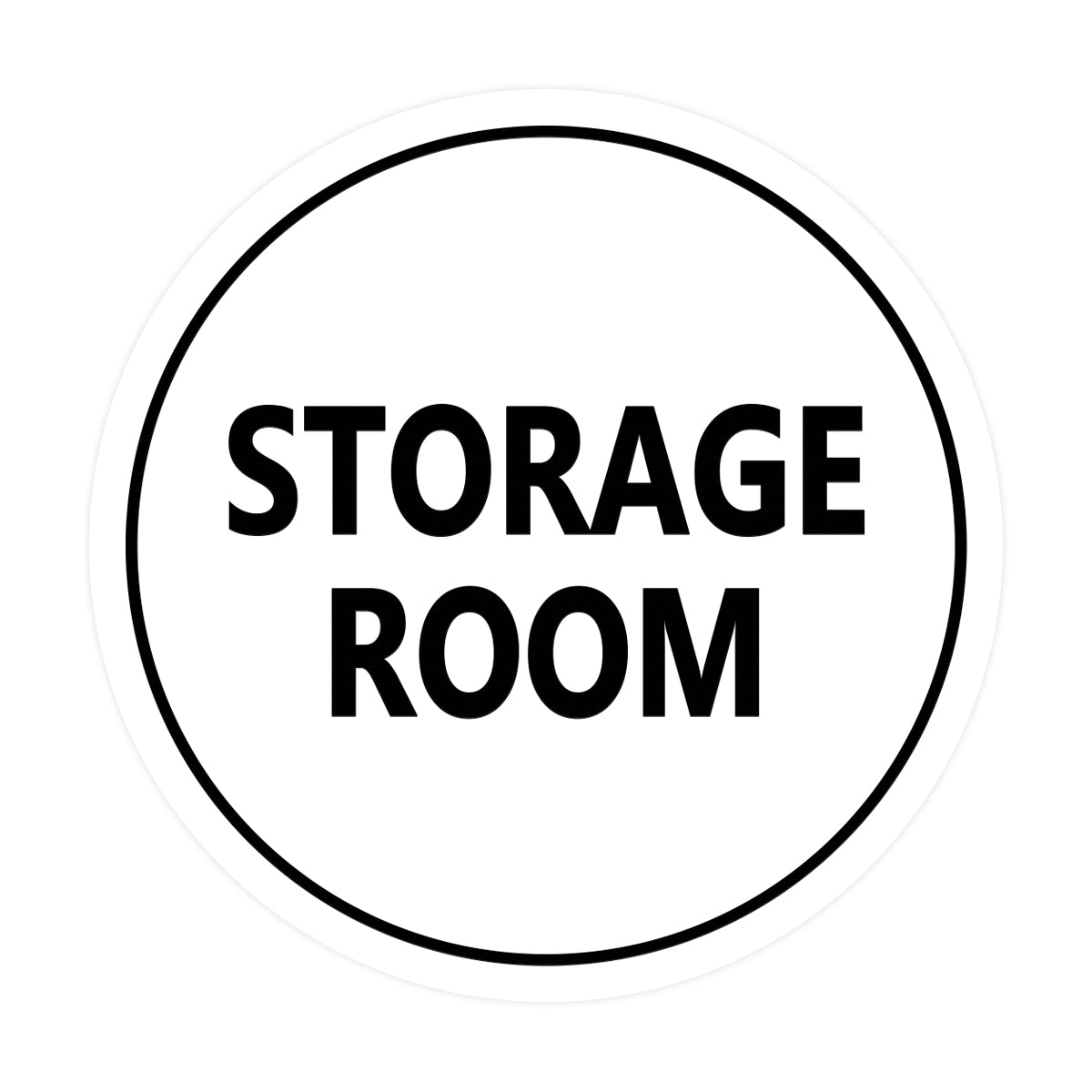 White / Black  Signs ByLITA Circle Storage Room Sign