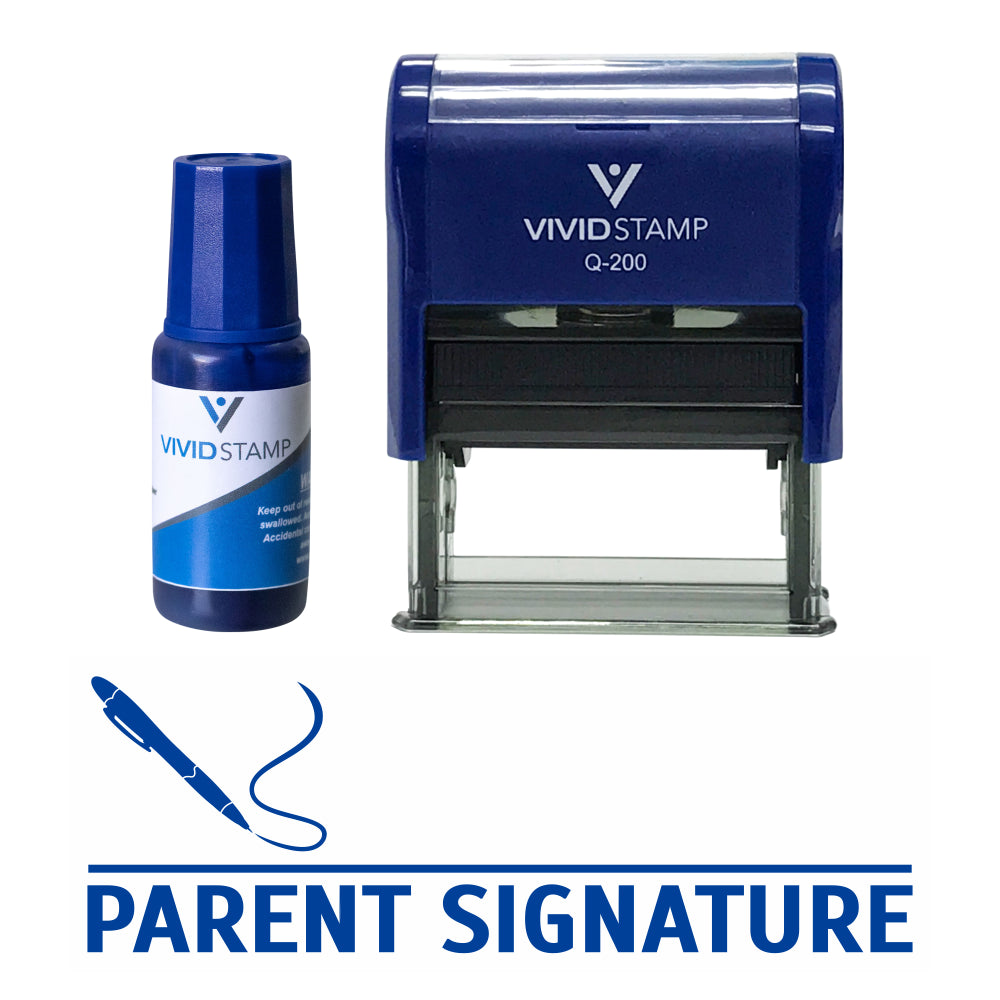 Parent Signature Self Inking Rubber Stamp Combo With Refill