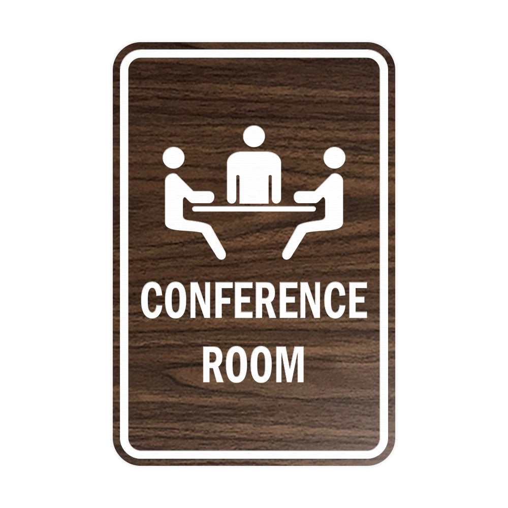 Walnut Portrait Round Conference Room Sign