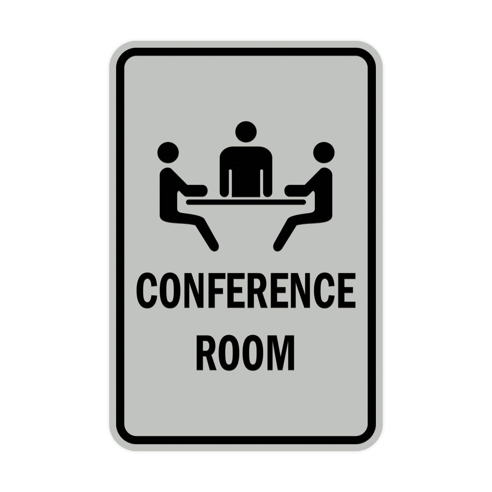 Lt Gray Portrait Round Conference Room Sign