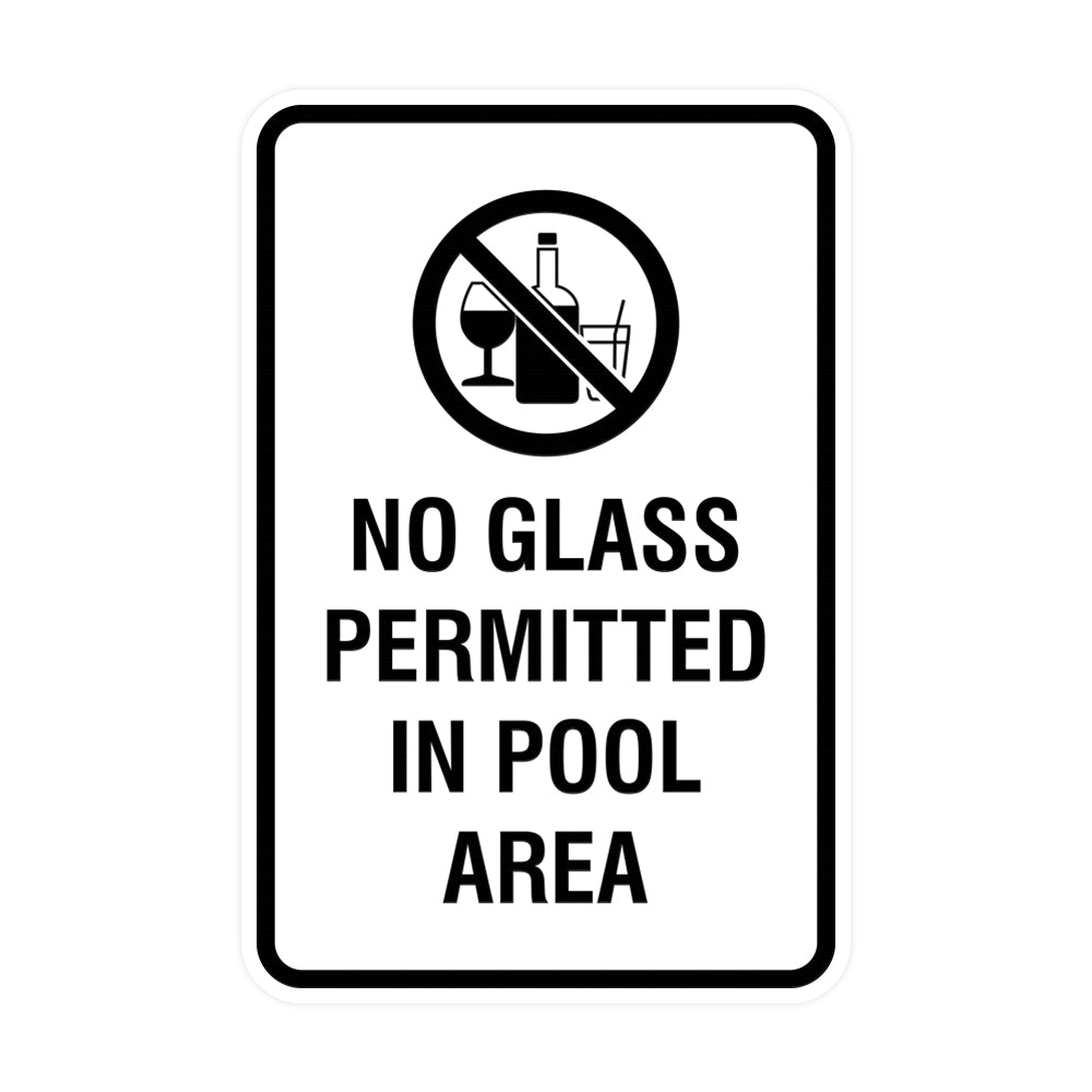 Portrait Round No Glass Permitted In Pool Area Sign