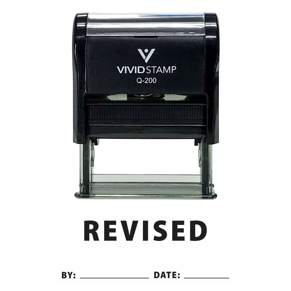 Revised By Date Self Inking Rubber Stamp