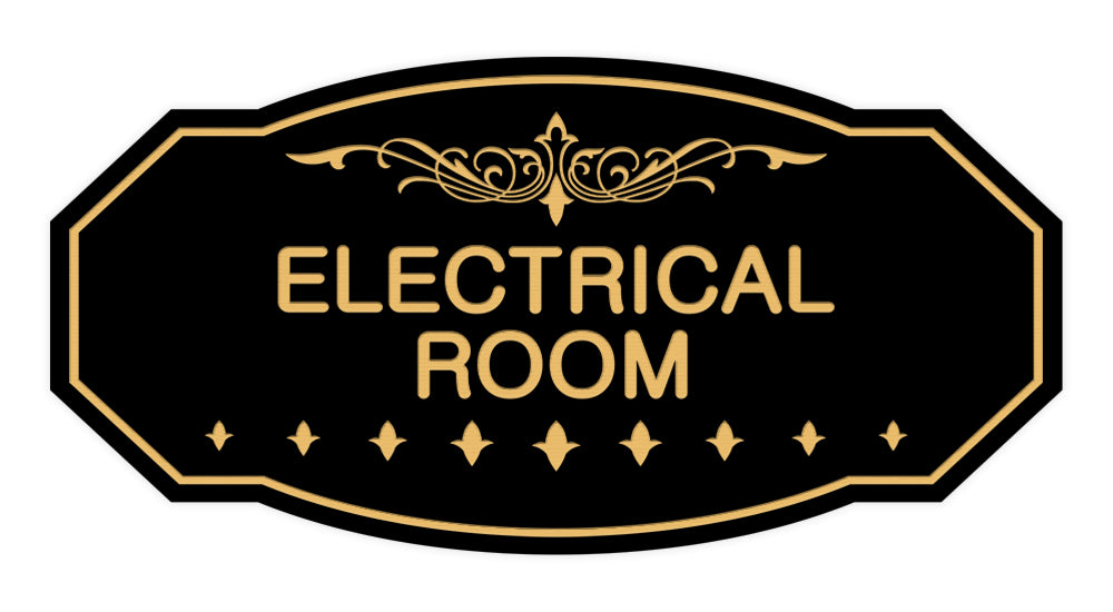 Black / Gold Victorian Electrical Room Sign