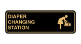 Black / Gold Signs ByLITA Standard Diapers Changing Station Sign