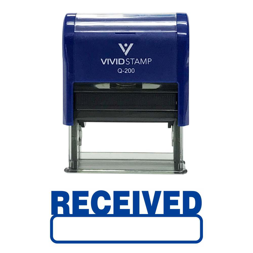 Basic Received Self Inking Rubber Stamp (Blue Ink) - Medium