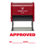 Approved W/ By Date Line Self-Inking Office Rubber Stamp