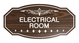 Walnut Victorian Electrical Room Sign