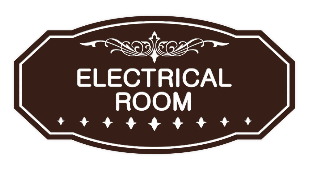 Dark Brown Victorian Electrical Room Sign