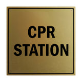 Signs ByLITA Square CPR Station Sign with Adhesive Tape, Mounts On Any Surface, Weather Resistant, Indoor/Outdoor Use