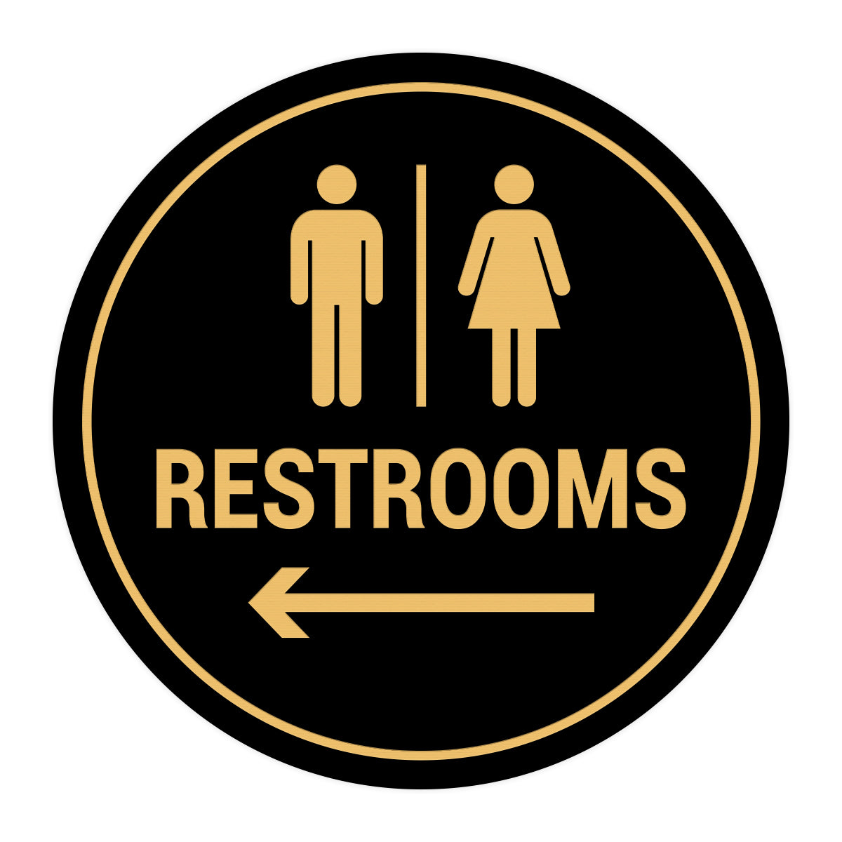 Signs ByLITA Circle Restrooms Left Arrow Sign