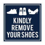 Signs ByLITA Square Kindly Remove Your Shoes Sign with Adhesive Tape, Mounts On Any Surface, Weather Resistant, Indoor/Outdoor Use