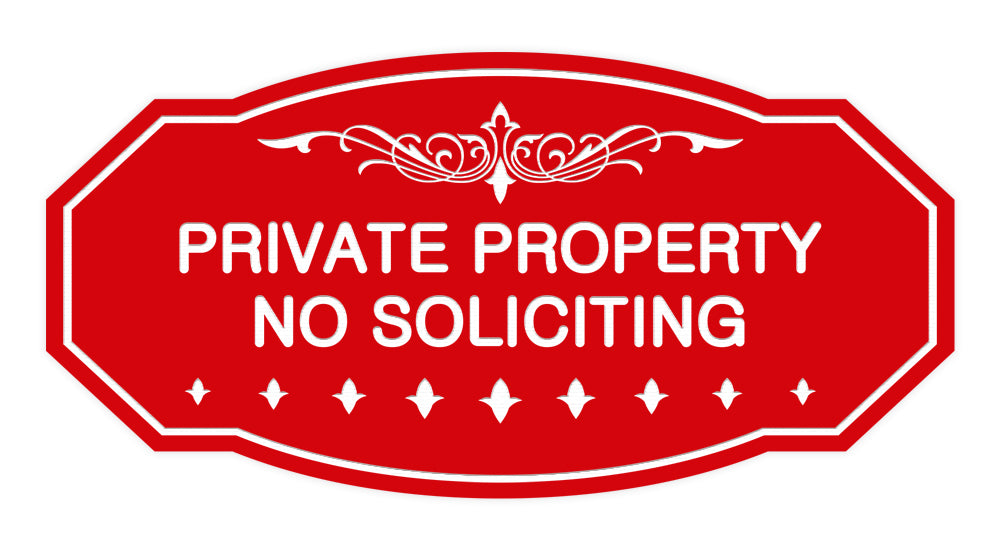 Victorian Private Property No Soliciting Sign
