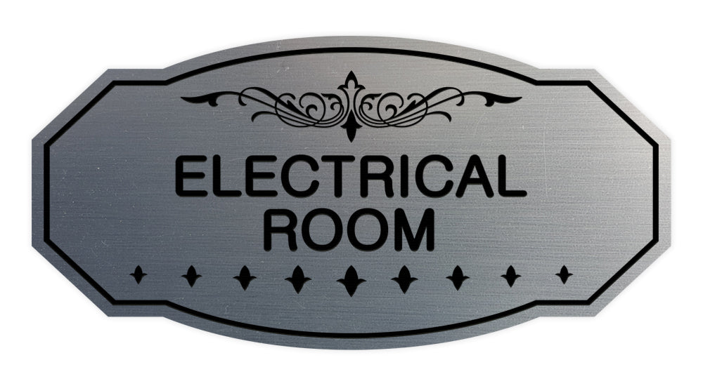 Brushed Silver Victorian Electrical Room Sign