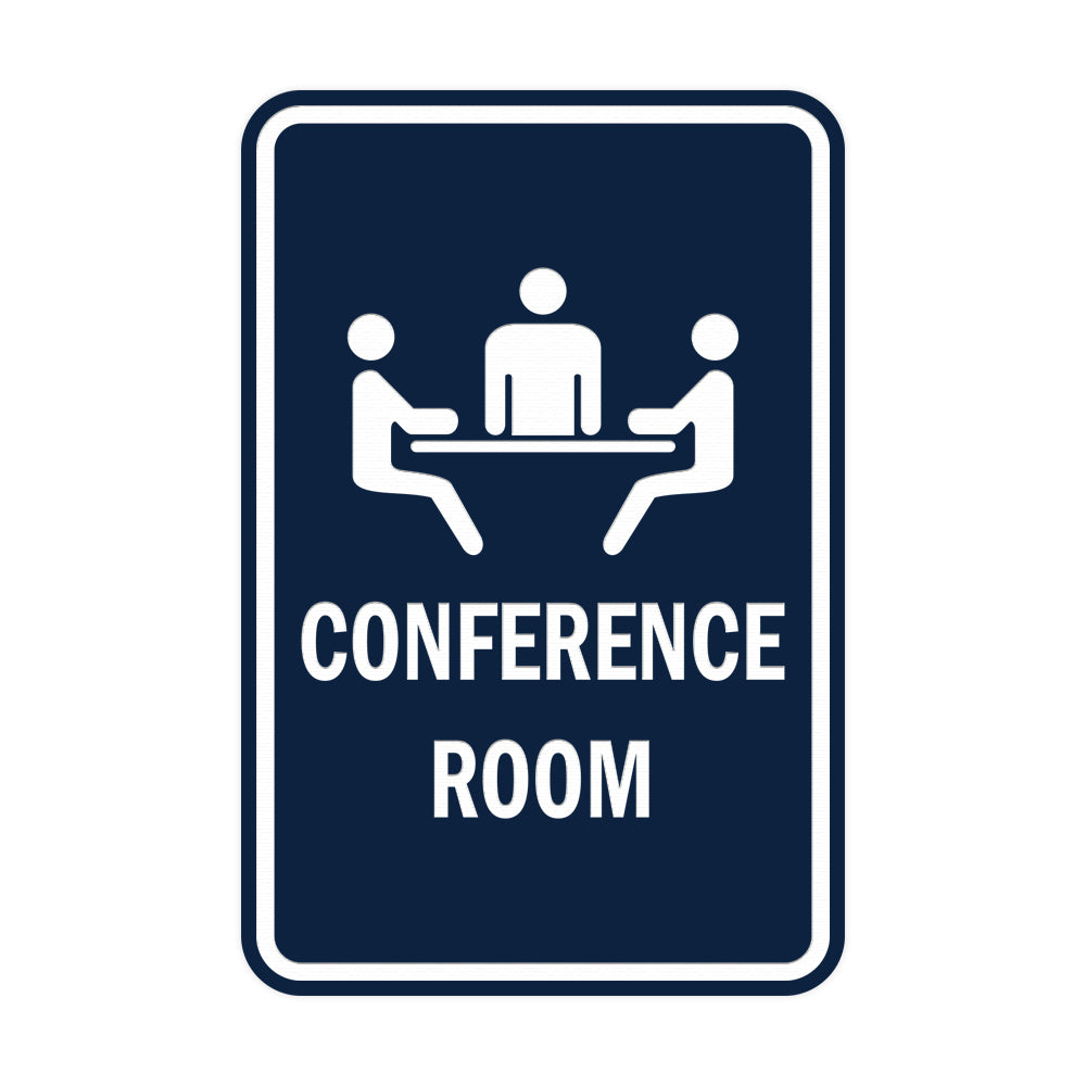 Navy Blue / White Portrait Round Conference Room Sign